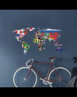 Wereldkaart muursticker met vlaggen van Crearreda