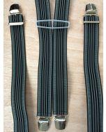 Bretels 35 mm breed met strepen zwart wit grijs