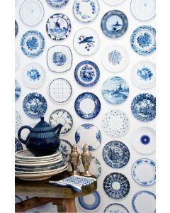 Porselein behang blauw van Studio Ditte