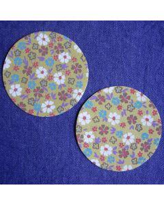 Opstrijkbare kniestukken retro bloemenprint groen