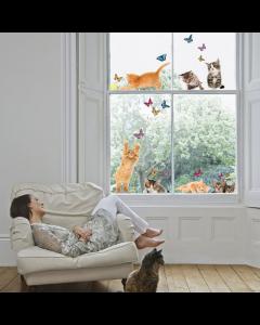 Raamstickers Kittens en Vlinders van Crearreda