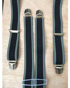 Bretels 35 mm breed met stipjes zwart wit geel