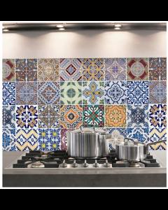 Keukenstickers Crearreda Azulejos tegelmotief in diverse kleuren