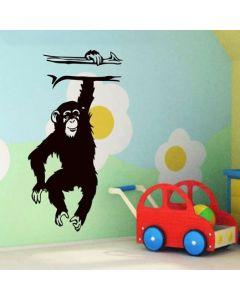 Muursticker zelfklevend velours Monkey