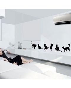 Muursticker zelfklevend velours Cats (set van 6)