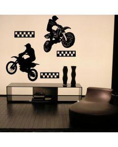 Muursticker zelfklevend velours Motocross (set van 2)