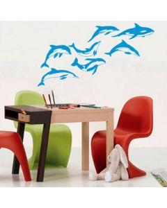 Muursticker zelfklevend velours Dolphins (set van 7)
