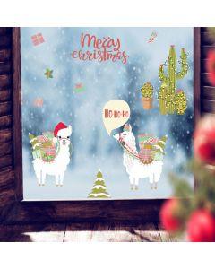 Muur- / Raamsticker Kerst Lama