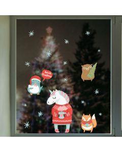 Muur- / Raamsticker Kerst Unicorns