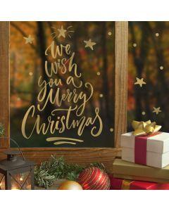 Muur- / Raamsticker Merry Christmas Goud