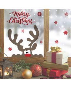 Muur- / Raamsticker Merry Christmas Rendier