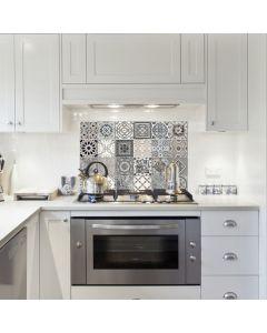 Keukenwand Sticker Azulejos (grijs) - (47 x 65 cm)