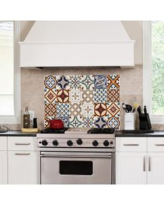 Keukenwand Sticker Azulejos (rood) - (47 x 65 cm)