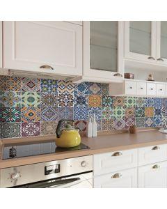 Keuken Achterwand Azulejos Sticker (diverse kleuren) - 180 x 45 cm