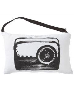 Kussenhoes retro radio zwart wit