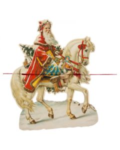 Kerst guirlande kerstman met paard
