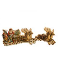 Kerst guirlande kerstman in slee met rendieren