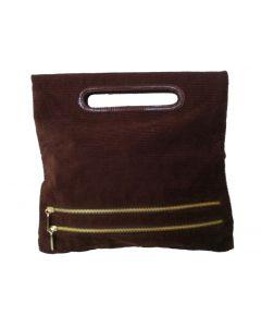 Vintage handtas bruin corduroy