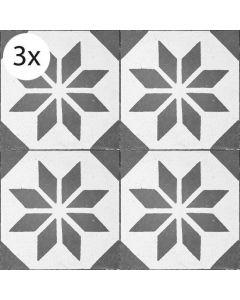 Vloertegel stickers Zwart Motief (3 stuks 40 x 40 cm)