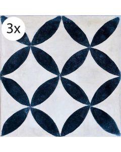 Vloertegel stickers Cementine Blauw (3 stuks 40x40 cm)