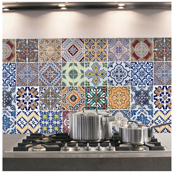 Crearreda keukenstickers Azulejos